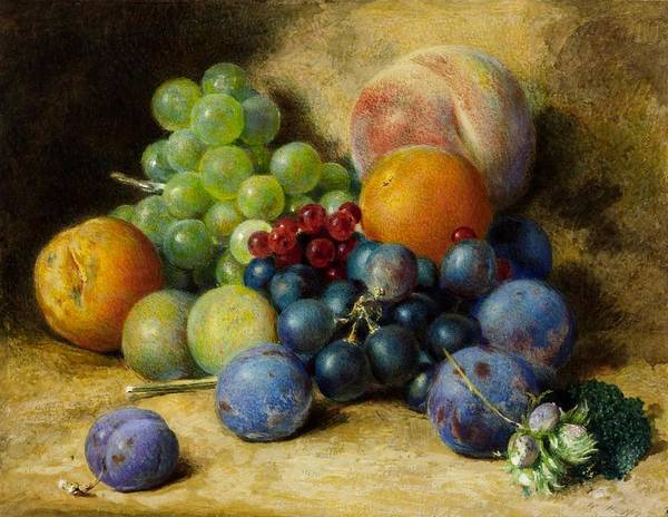 William Henry Hunt 1790�1864 Title Fruit Art Print featuring the painting Fruit by MotionAge Designs