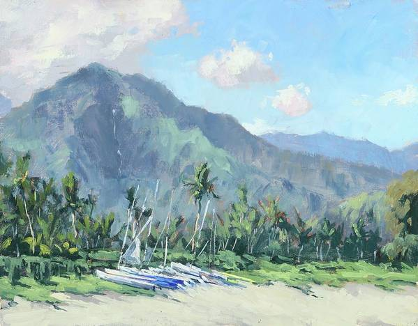 Kauai Art Print featuring the painting Hanalei Cats by Pierre Bouret