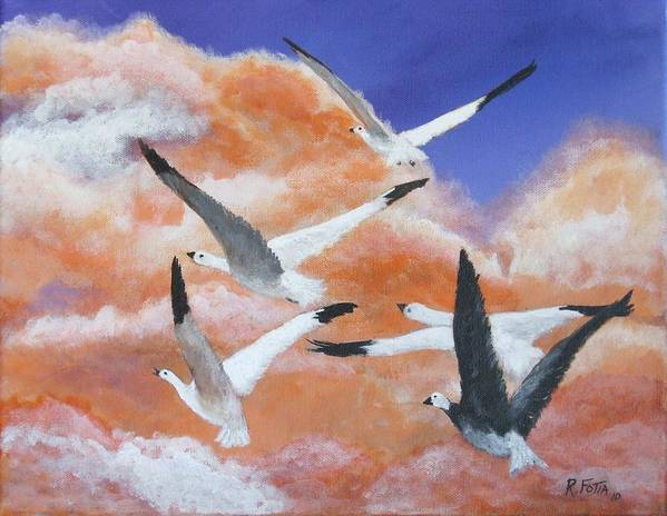 Geese Art Print featuring the painting High Flyers by Rich Fotia