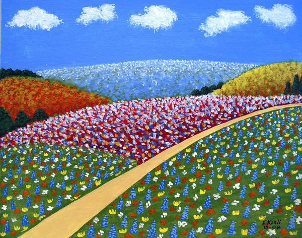 Landscape Paintings Art Print featuring the painting Hills Of Flowers by Frederic Kohli