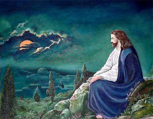 Jesus Art Print featuring the painting Jesus Praying by Terri Kilpatrick