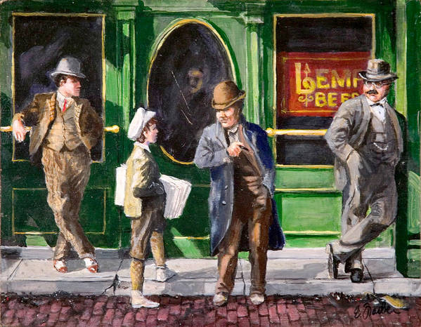 City Scenes Streetscape  Circa1900  Tavern Lempbeer Paperboy  Oldst.louis  Cobblestones Art Print featuring the painting Lemp Beer by Edward Farber