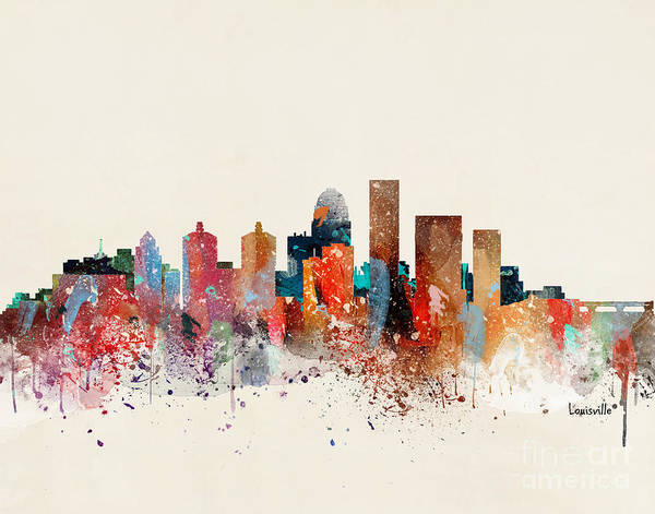 Louisville Cityscape Art Print featuring the painting Louisville Skyline by Bri Buckley