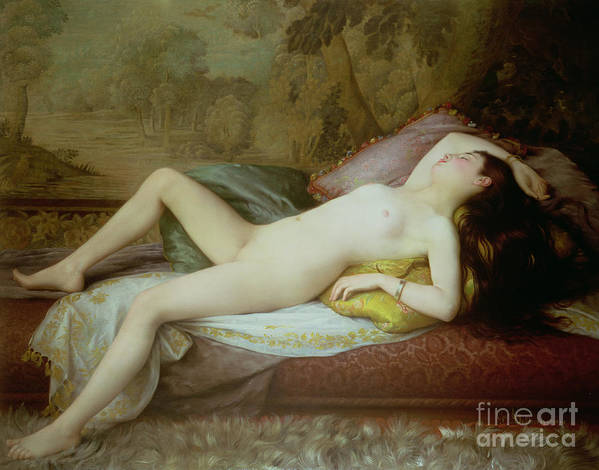 Nude Art Print featuring the painting Nude Lying On A Chaise Longue by Gustave-Henri-Eugene Delhumeau