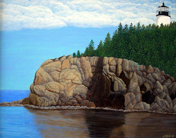 Lighthouse Paintings Art Print featuring the painting Owls Head Lighthouse by Frederic Kohli
