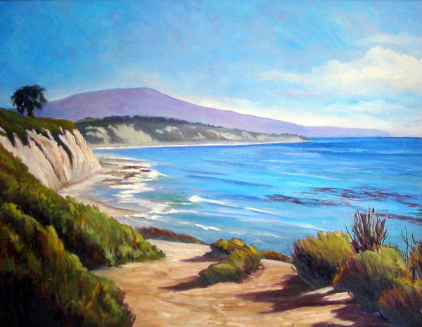 Ocean Art Print featuring the painting Rincon Peak by Dorothy Nalls