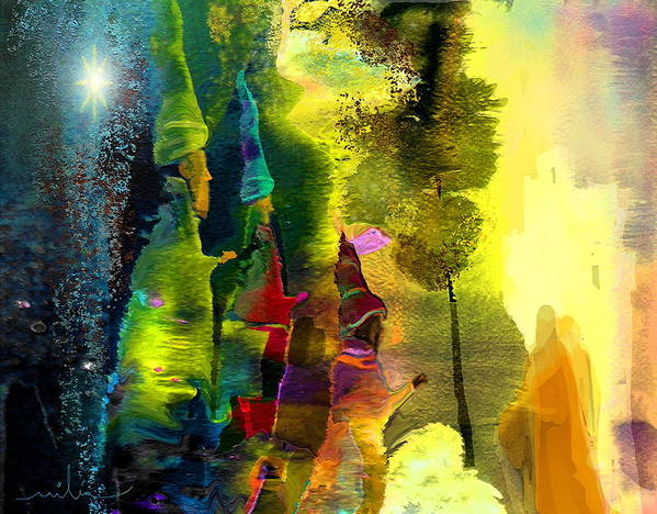 Fantasy Art Print featuring the painting The Three Kings by Miki De Goodaboom