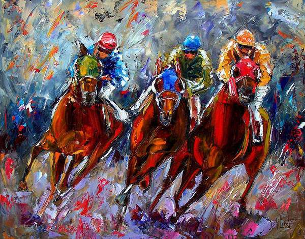 Horse Race Art Print featuring the painting The Turn by Debra Hurd