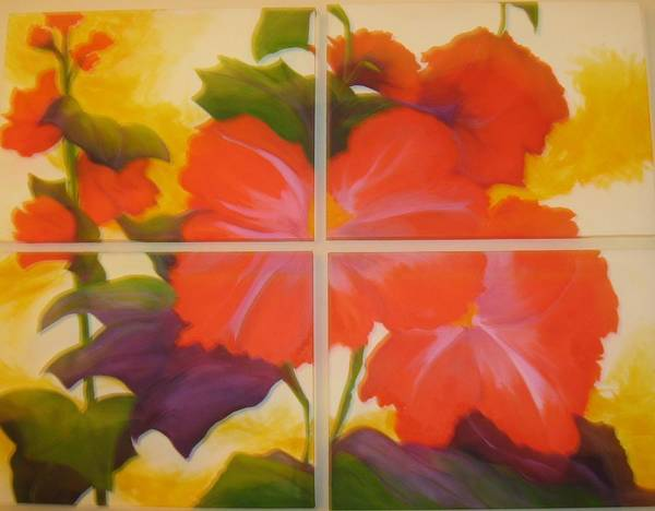 Flower On Four Canvasses Art Print featuring the painting To Brighten Your Day by Sheryl Sutherland