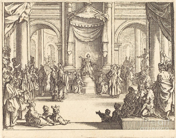 Art Print featuring the drawing Christ Disputing With The Doctors by Jacques Callot