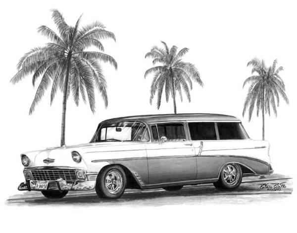 1957 Chevrolet Wagon Art Print featuring the drawing 56 Chevy Wagon by Peter Piatt