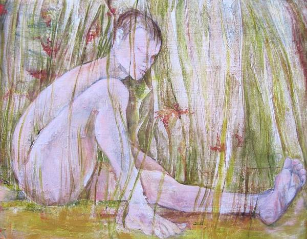 Whimsical Abstracted Painting Of A Nude Man Spending The Day In The Grass. Part Of Artist' Series On Joyful Days. Art Print featuring the painting A Day In The Grass by Georgia Annwell