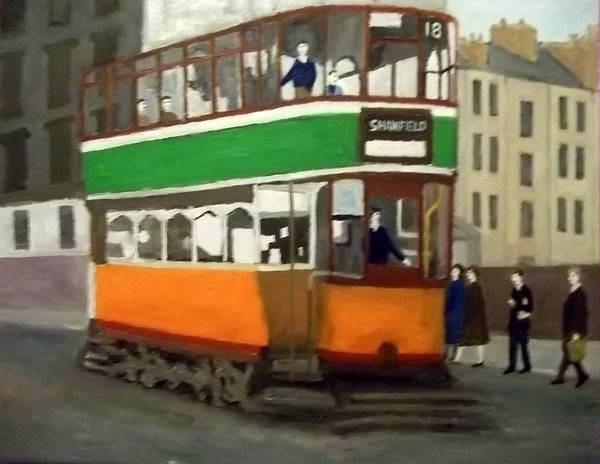 Glasgow Tram Art Print featuring the painting A Glasgow Tram With Figures And Tenement by Peter Gartner