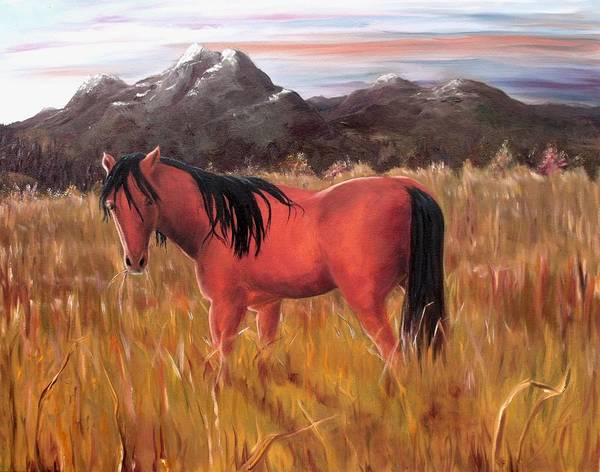Horses Artwork Art Print featuring the painting A Horse Of Course by Diane Daigle