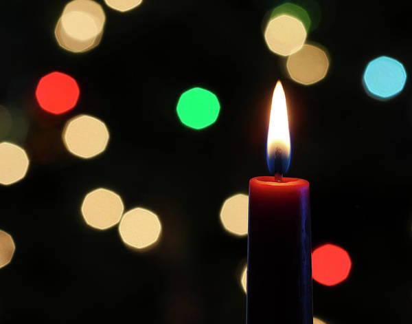 Season Art Print featuring the photograph A Red Christmas Candle With Blurred Lights by Derrick Neill