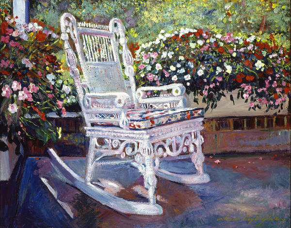 Rocking Chairs Print featuring the painting A Rest In The Shade by David Lloyd Glover