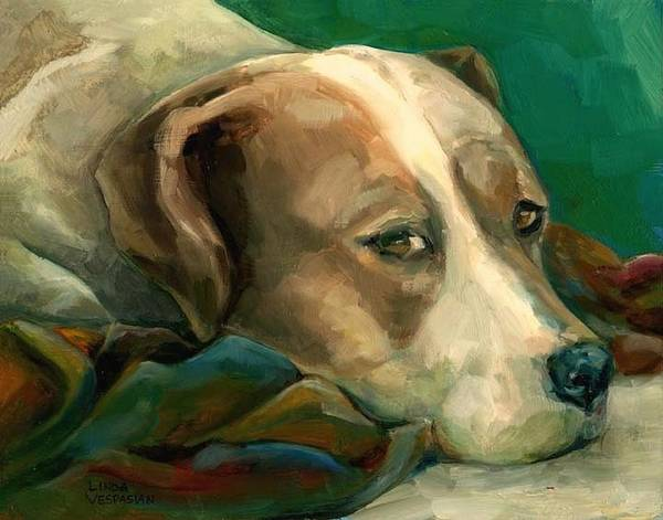 Dog Art Print featuring the painting A Watchful Eye by Linda Vespasian