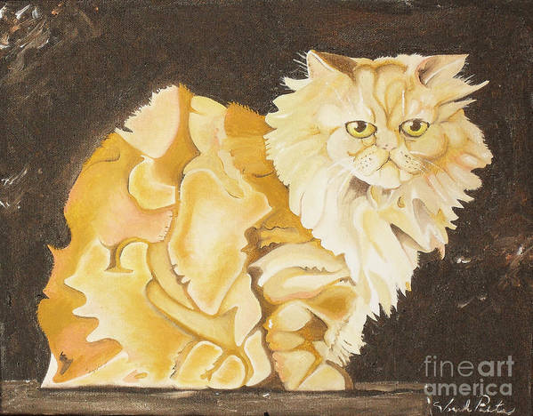 Cat Art Print featuring the painting Abstract Cat by Joseph Palotas