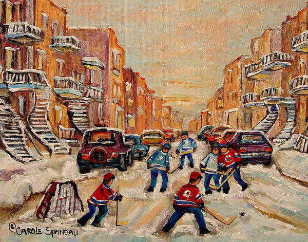 After School Hockey Game Art Print featuring the painting After School Hockey Game by Carole Spandau