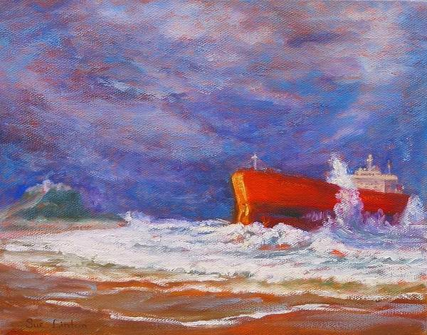 Pasha Bulker Tanker Stranded On Nobby Art Print featuring the painting After The Storm by Sue Linton