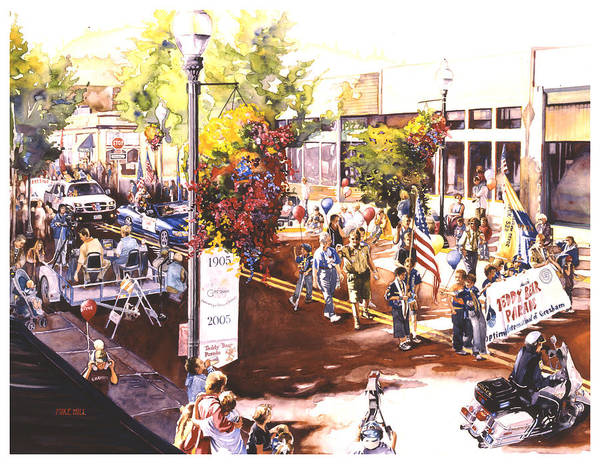 Parade Flags Old Glory Cub Boy Scouts Police Teddy Bear Celebration Patriotic Americana Art Print featuring the painting America At Its Best by Mike Hill