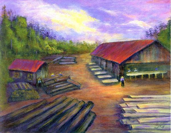 Amish Art Print featuring the painting Amish Lumbermill by Gail Kirtz
