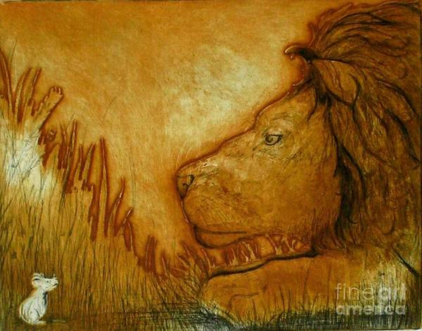 Animals Art Print featuring the drawing An Understanding by Susan Clausen