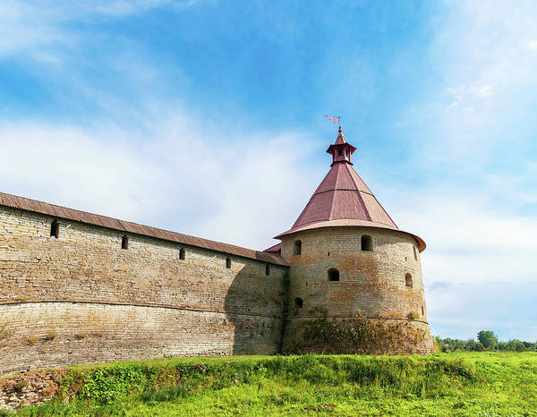 Tower Art Print featuring the photograph Ancient Wall And Tower Of The Fortress Oreshek by Sergey Grishin