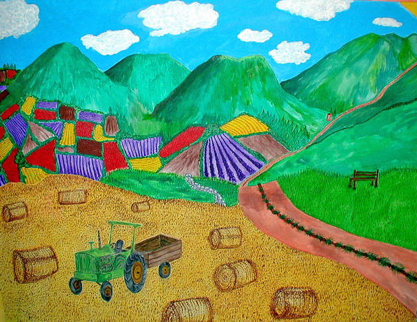 Tractor Art Print featuring the painting Aromatic Harvest by Sandy Wager