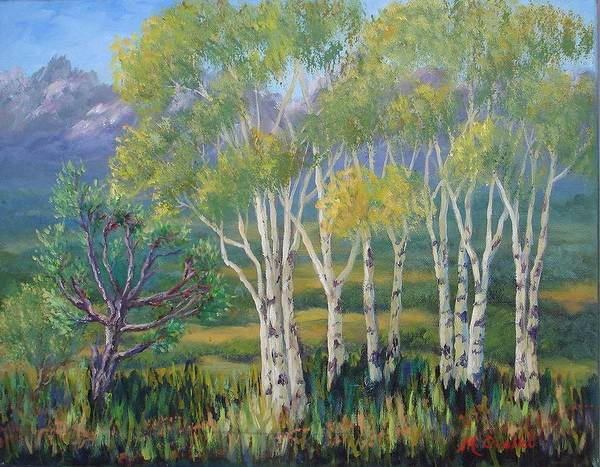 Landscape Art Print featuring the painting Aspens In The Rockies by Maxine Ouellet