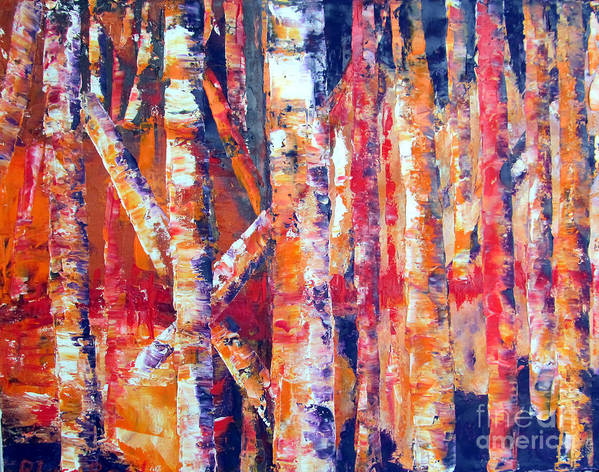 Landscape Art Print featuring the painting Autumn Birches by Lisa Boyd