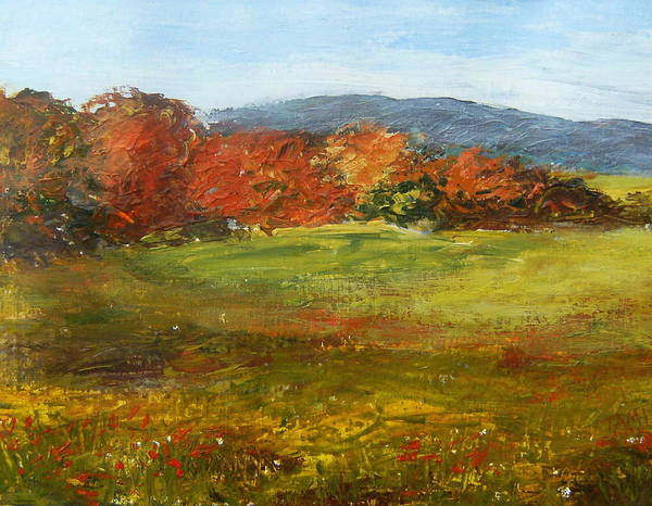 Landscape Art Print featuring the painting Autumn Is Here by Tami Booher