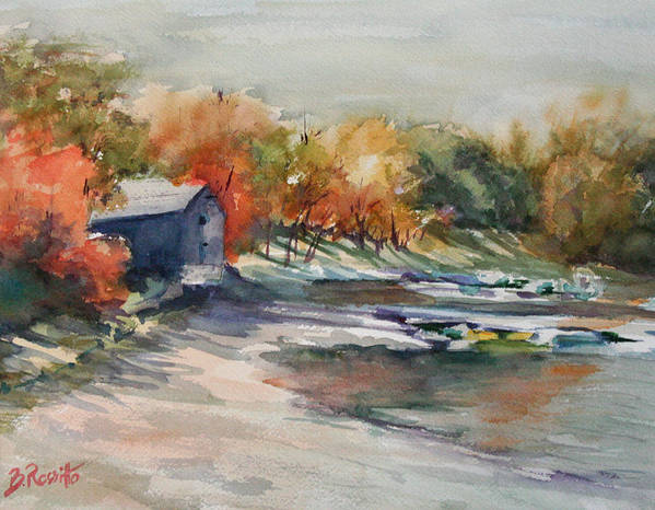 Autumn Morning At The Cove Art Print featuring the painting Autumn Morning At The Cove by B Rossitto