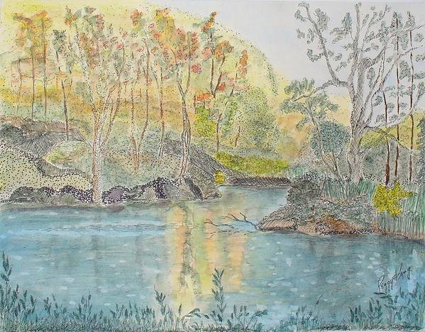 Watercolour Art Print featuring the painting Autumn On The Ausable River by Peggy King