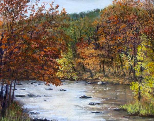 Autumn Art Print featuring the painting Autumn River by Jack Skinner