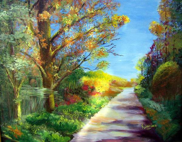 Landscape Art Print featuring the painting Autumn Roads by Julie Lamons