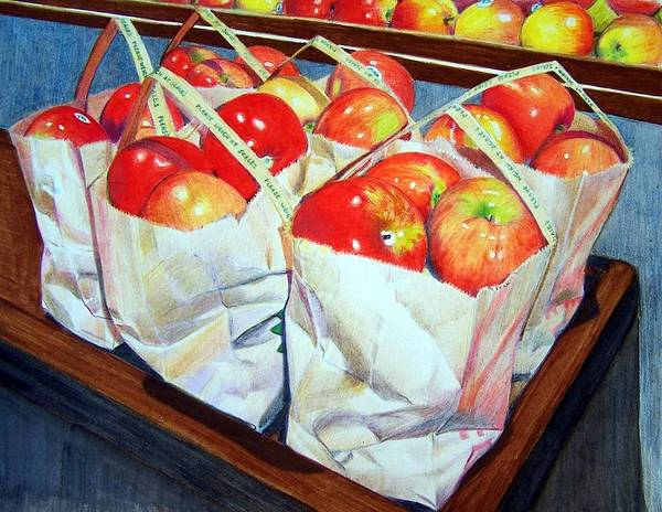 Apples Art Print featuring the mixed media Bags Of Apples by Constance Drescher