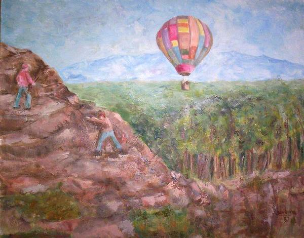 Landscape Baloon And Mountain Trees People Art Print featuring the painting Baloon by Joseph Sandora Jr