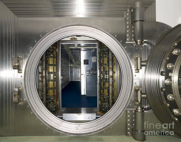 Architectural Print featuring the photograph Bank Vault Interior by Adam Crowley