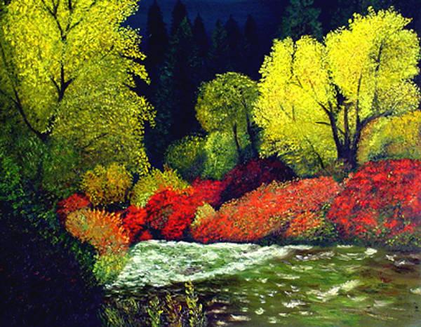 Landscape Art Print featuring the painting Beauatiful Oregon by JoeRay Kelley