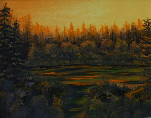 Landscape Art Print featuring the painting Beaver Pond At Sunset by Rebecca Fitchett