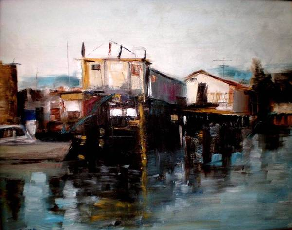 Water Art Print featuring the painting Bellingham Boats by Renee Rowe