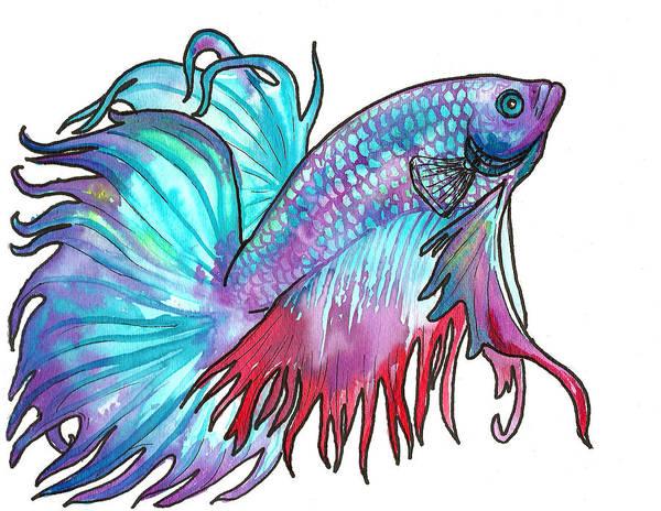 Fish Art Print featuring the painting Betta Fish by Jenn Cunningham