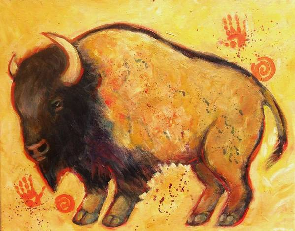 Bison Art Print featuring the painting Big Bison Totem by Carol Suzanne Niebuhr