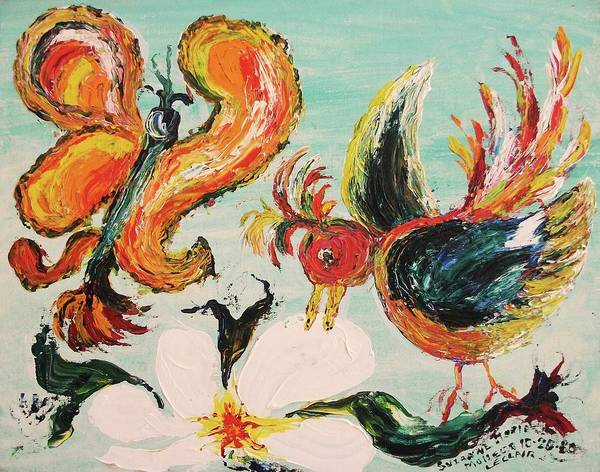 Leclair Art Print featuring the painting Bird And Butterfly by Suzanne Marie Leclair