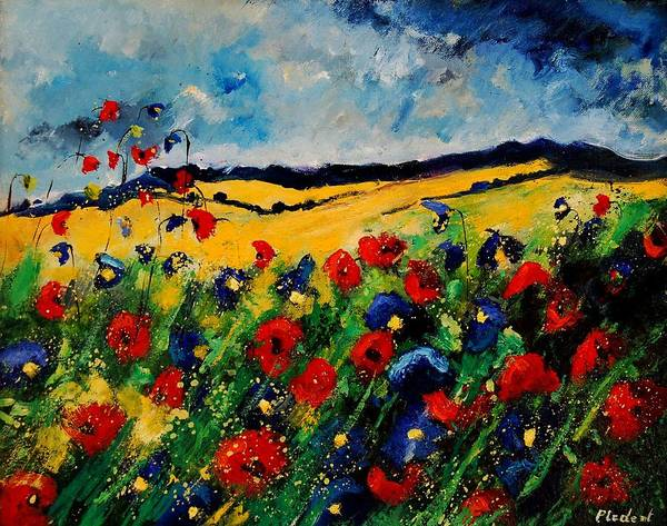 Poppies Art Print featuring the painting Blue And Red Poppies 45 by Pol Ledent