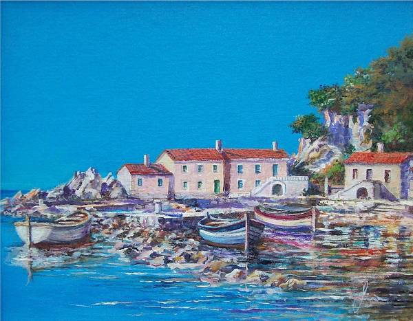 Original Painting Art Print featuring the painting Blue Bay by Sinisa Saratlic