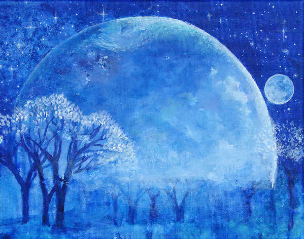 Blue Print featuring the painting Blue Night Moon by Ashleigh Dyan Bayer