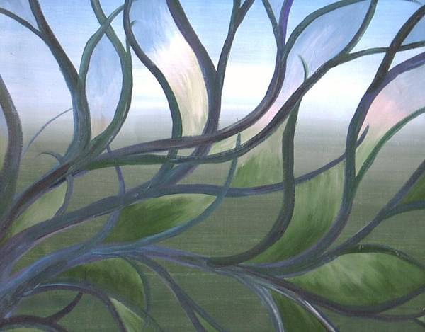 Tree Branches Abstract Landscape Art Print featuring the painting Blue Skies by Sally Van Driest