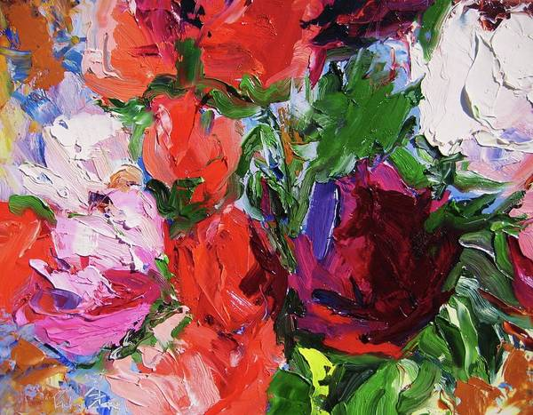 Floral Art Print featuring the painting Bongart's Roses II by Paula Stern